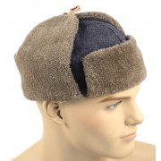 Red Army hat with earflaps Ushanka brown fur
