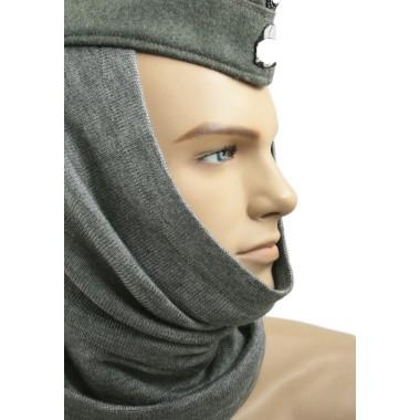 Toque balaclava pipe-scarf mouse gray