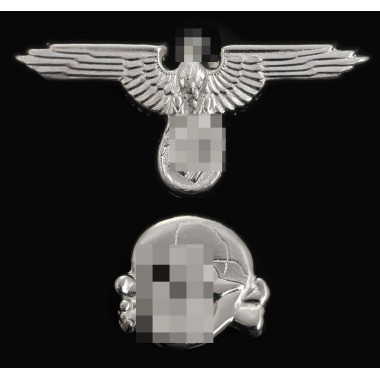 Metal eagle and skull for SS peaked-cap set