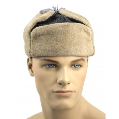 Red Army hat with earflaps Ushanka beige fur