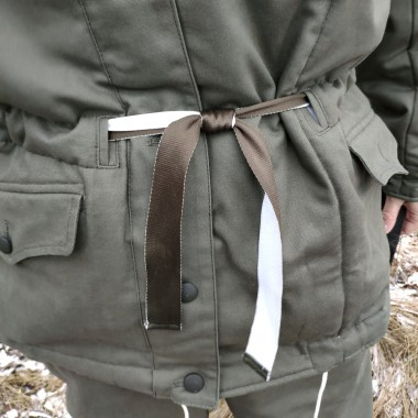 Ribbon belt for winter jackets